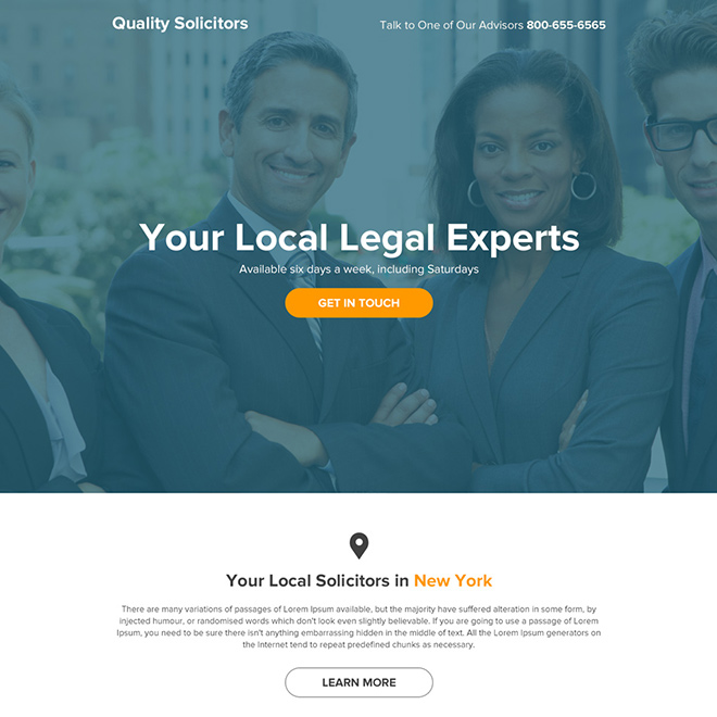 local solicitors lead generating responsive landing page design Attorney and Law example