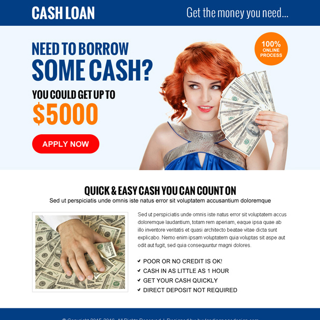 quick and easy cash loan cta ppv landing page design Loan example