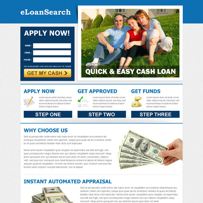 e-loan search clean lead capture landing page template design to increase your conversion Loan example