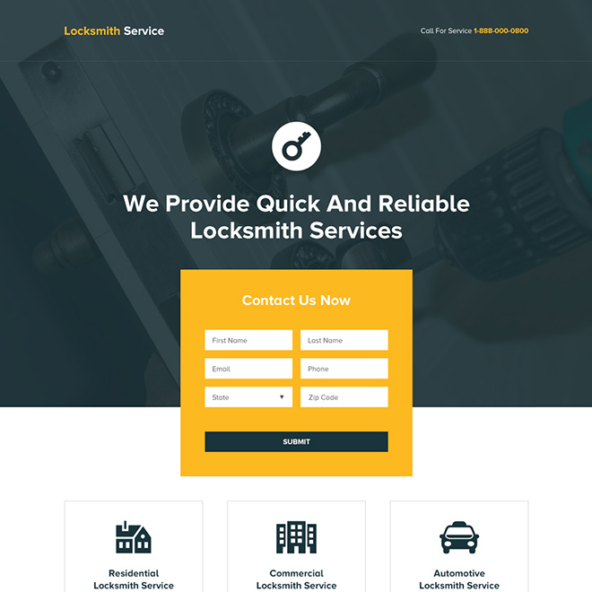 quick and reliable locksmith services landing page Locksmith example