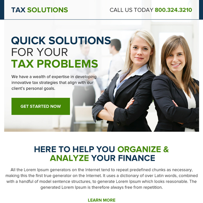 quick tax solution professional ppv landing page design Tax example