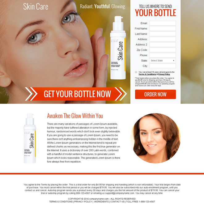 skin care serum selling bank page design Bank Page example