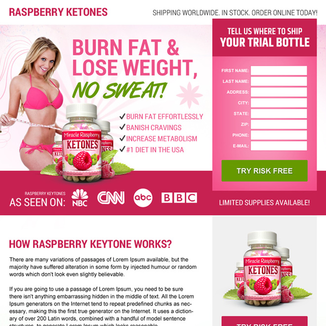 buy raspberry ketone pills weight loss product landing page Weight Loss example