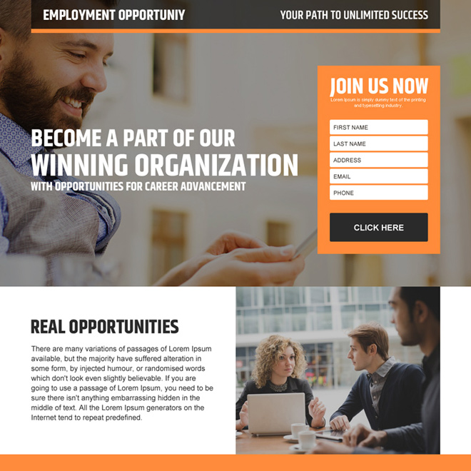 real employment opportunity lead generating landing page design Employment Opportunity example