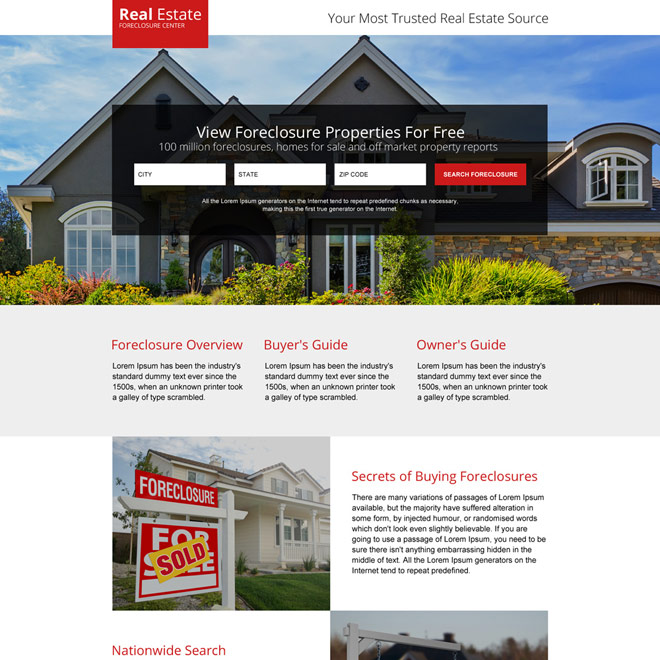 minimal real estate foreclosure properties responsive landing page design Real Estate example