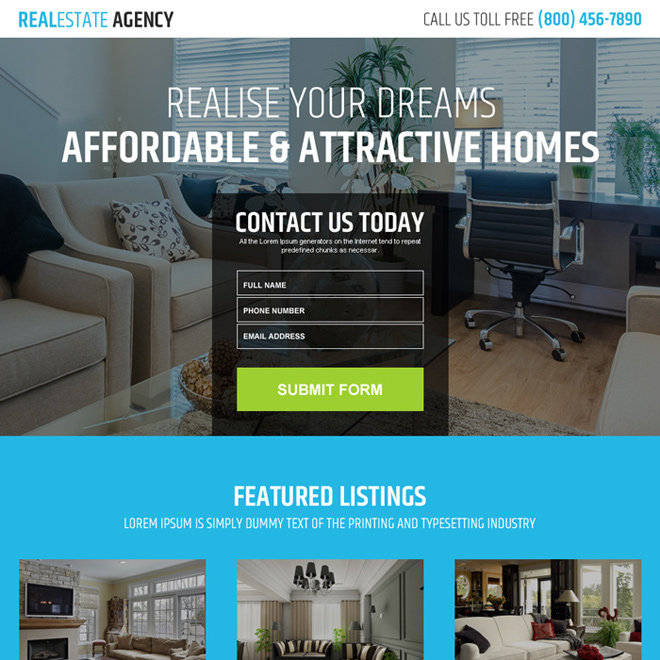 real estate agency business responsive landing page Real Estate example