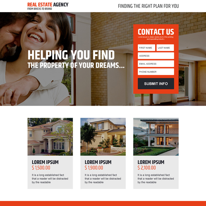 real estate agency dream property lead capturing landing page design Real Estate example