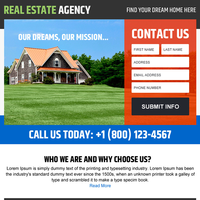 real estate agency lead generating ppv design Real Estate example