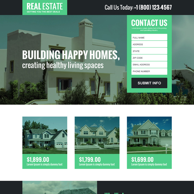 real estate listing responsive landing page design Real Estate example