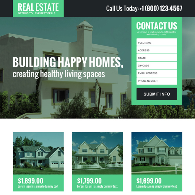 real estate best deal lead generating landing page design Real Estate example