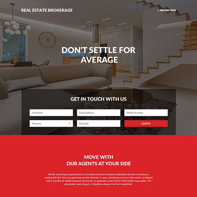 real estate brokerage lead capture responsive landing page Real Estate example