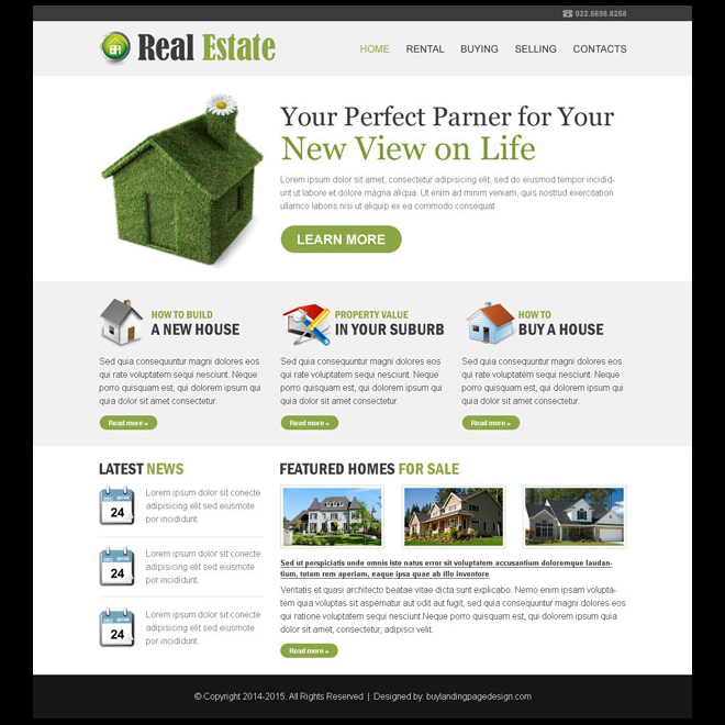 Clean And Minimal Real Estate Listing Business Website Template Design