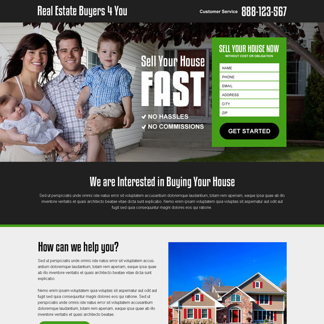 real estate buyer agency lead capturing landing page design Real Estate example