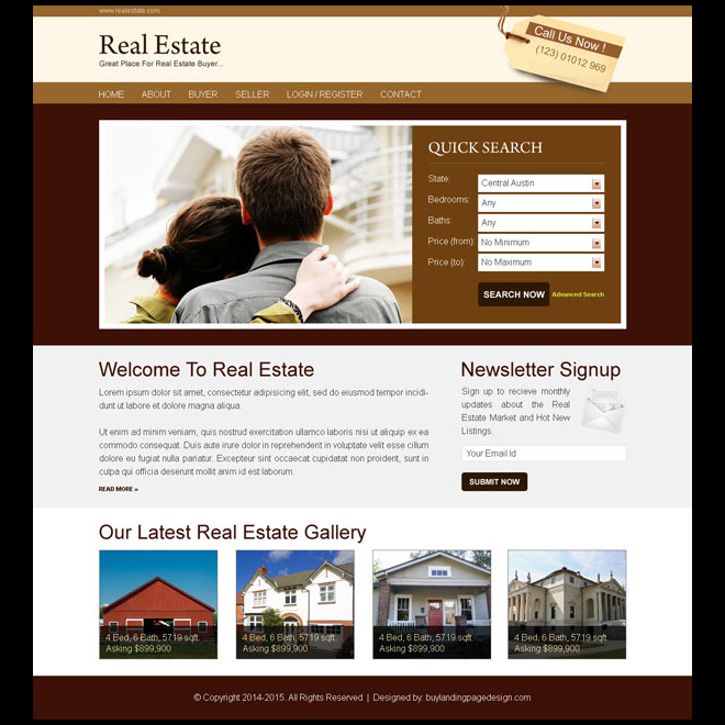 real estate buyer simple and converting lead capture website template psd Website Template PSD example