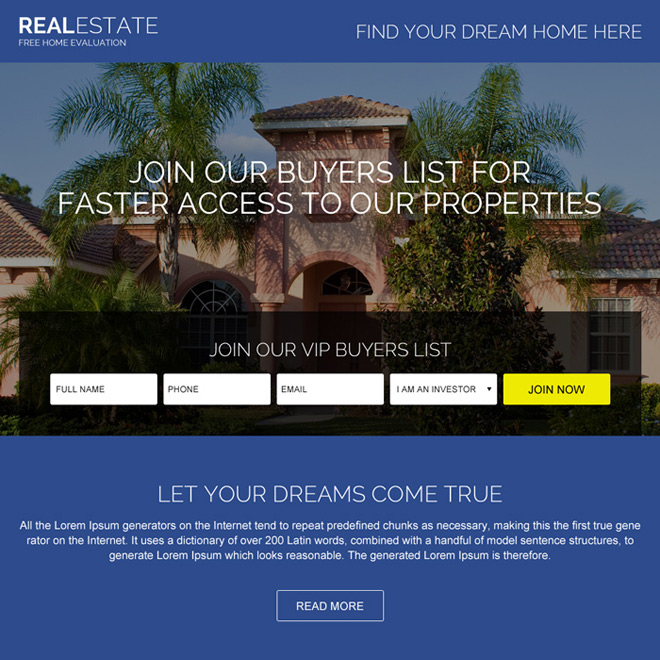 real estate listing lead capturing landing page design Real Estate example
