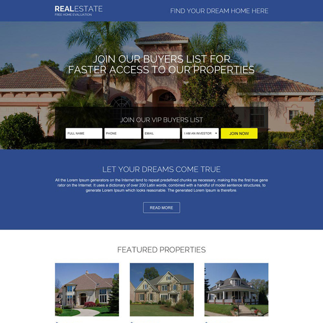 real estate free evaluation responsive landing page Real Estate example