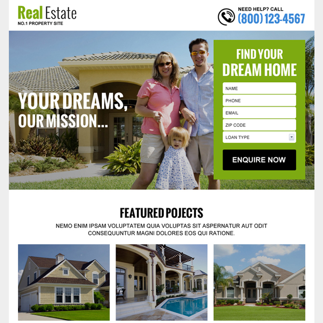 real estate free quote service lead gen landing page Real Estate example