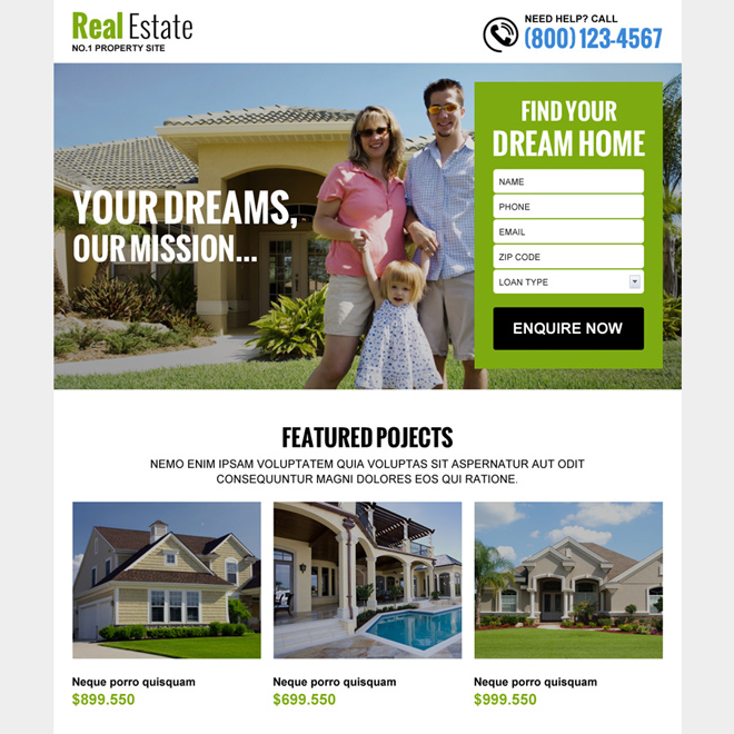 real estate listing best responsive landing page design Real Estate example