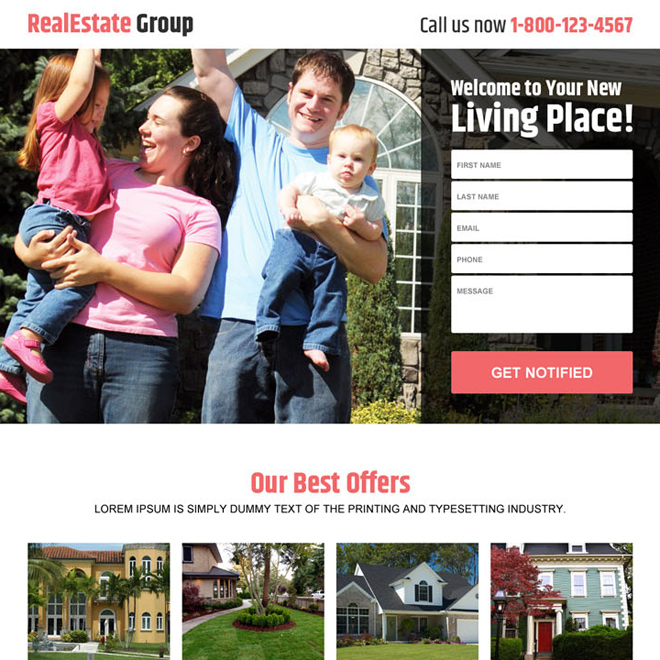 real estate group best deals responsive landing page design Real Estate example