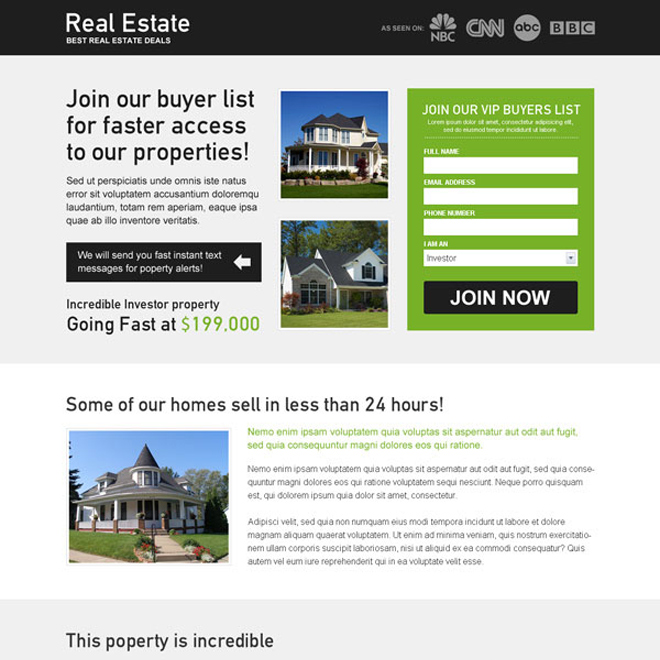 real estate deals buyer list lead capture effective and best landing page design Real Estate example