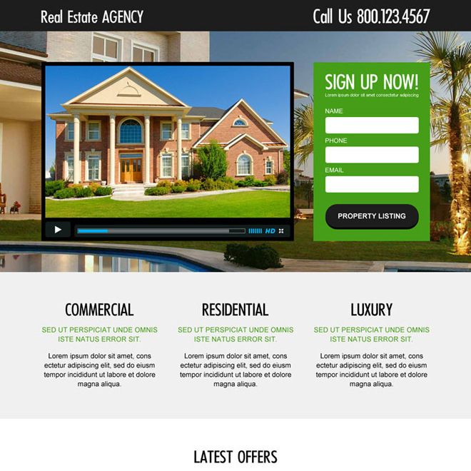 real estate agency lead generating and converting video landing page design Real Estate example