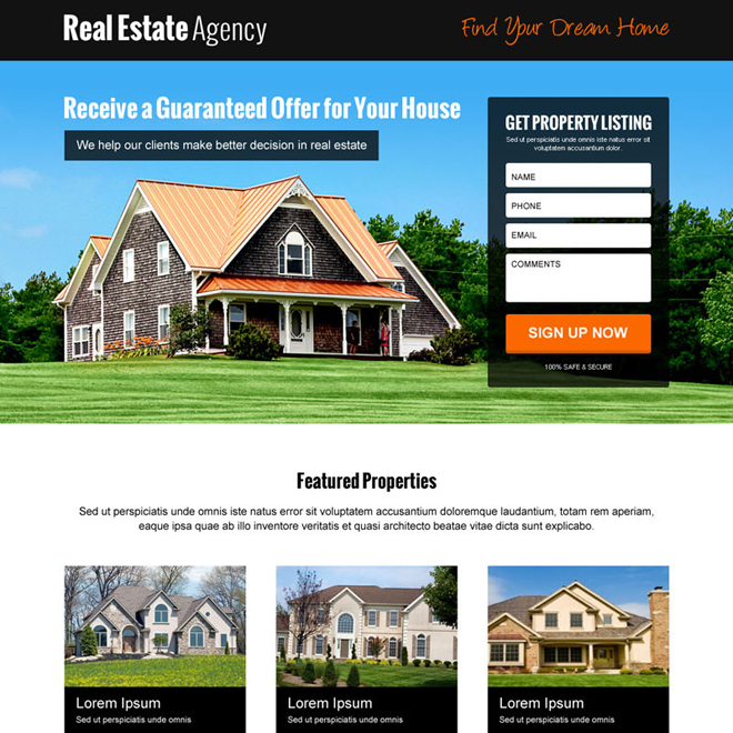 real estate lead generating clean and informative landing page design Real Estate example