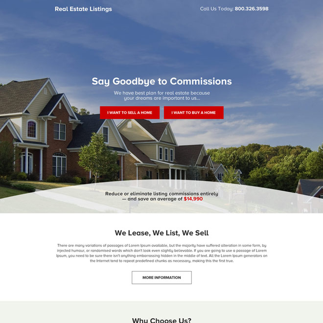 real estate listing premium landing page design Real Estate example