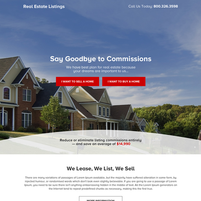 real estate listing call to action responsive landing page Real Estate example
