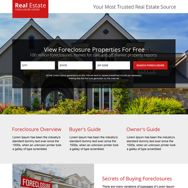 real estate foreclosure properties landing page design Real Estate example