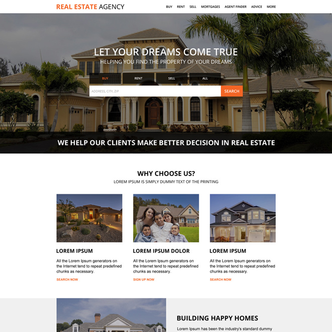 real estate property dealers agency landing page Real Estate example
