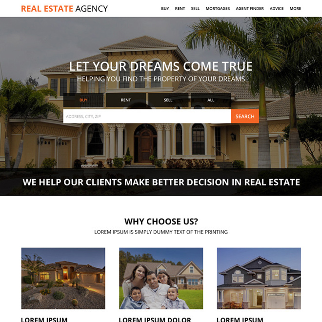 real estate property dealers agency responsive landing page design Real Estate example