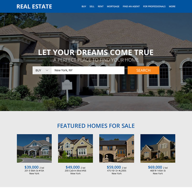 clean real estate property listing responsive website design Real Estate example