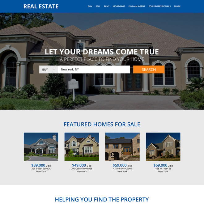 clean real estate property listing website design Real Estate example