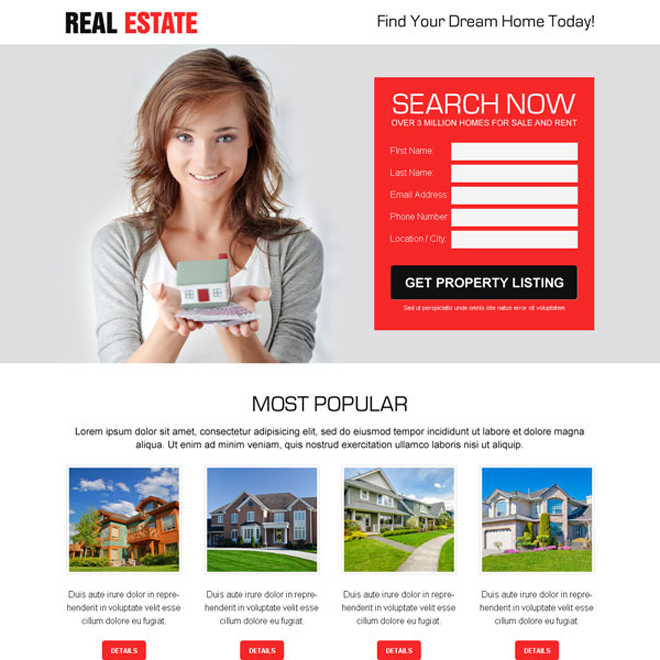 killer lead capture responsive landing page design for real estate business Real Estate example