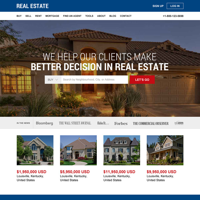 real estate properties listing responsive website design Real Estate example