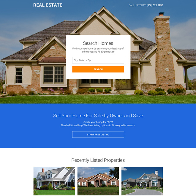 premium real estate listing clean landing page design Real Estate example