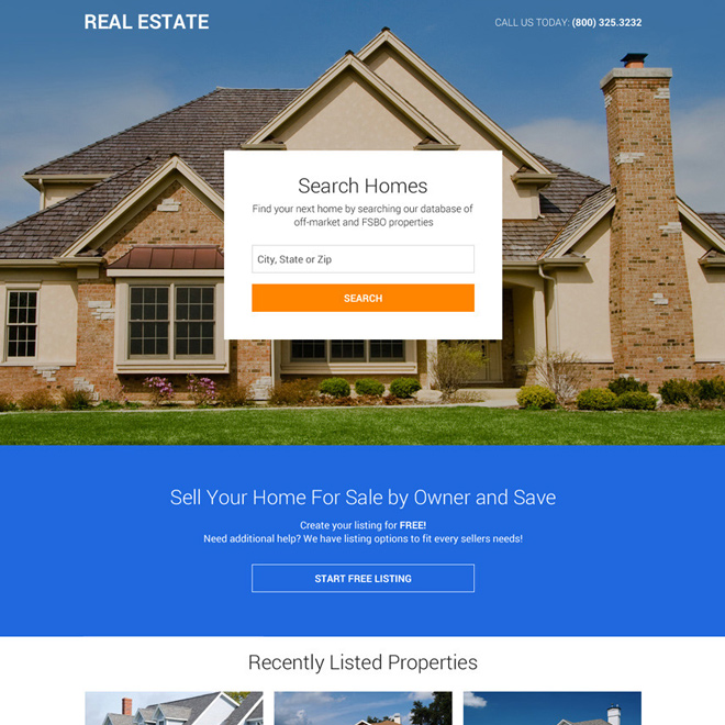 professional real estate mini responsive landing page Real Estate example