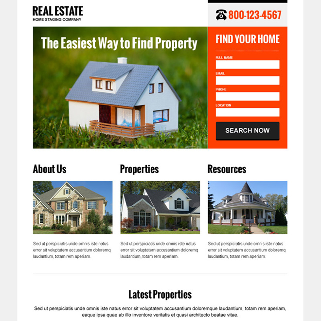 clean and converting real estate lead capture landing page design Real Estate example