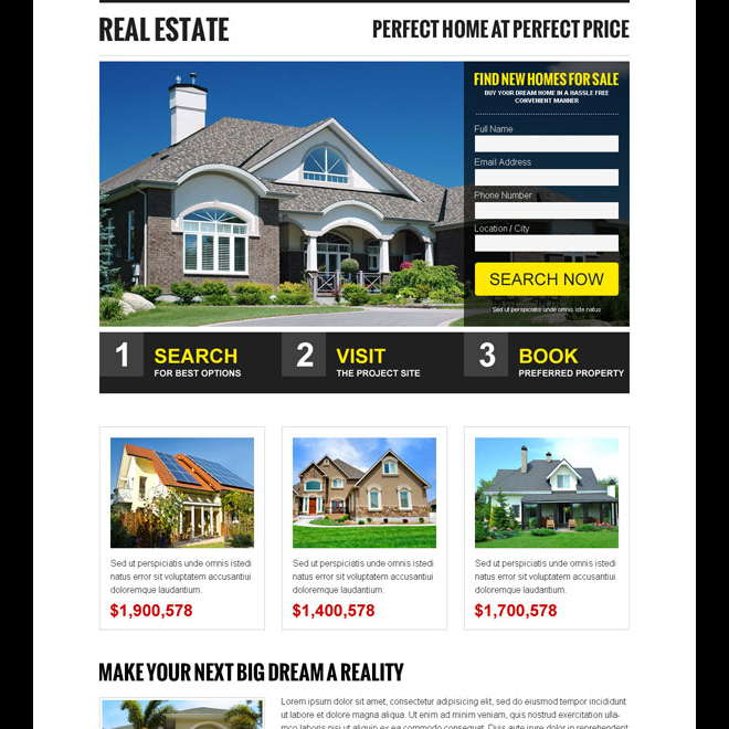 creative and appealing real estate small lead capture form landing page design template Real Estate example