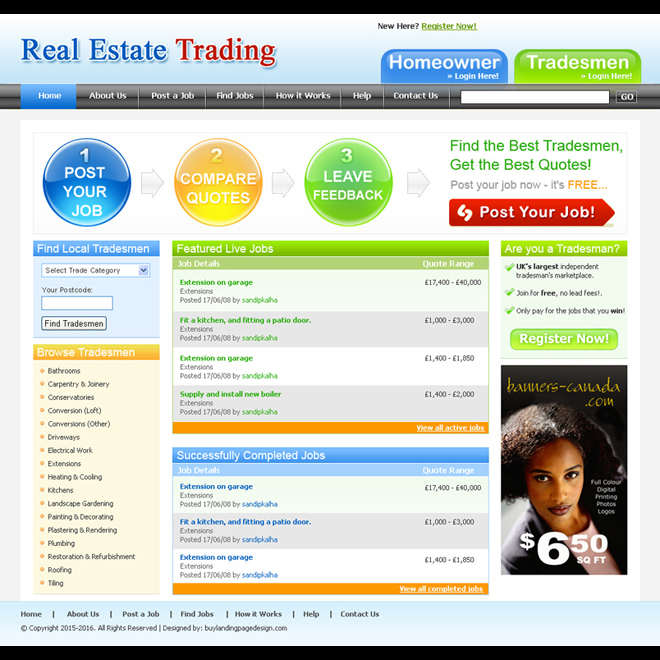 real estate trading website template design psd for sale Website Template PSD example