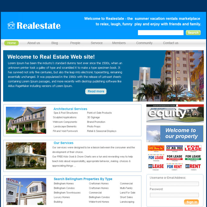 real estate website template design psd for sale Website Template PSD example