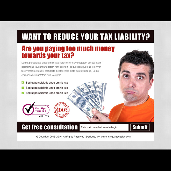 reduce your tax liability lead gen ppv landing page design template Tax example