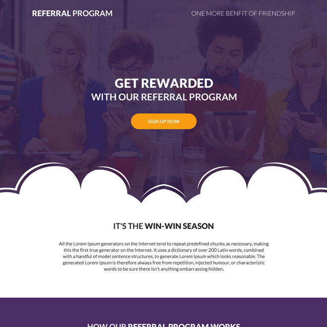 referral program sign up capturing landing page design Marketing example