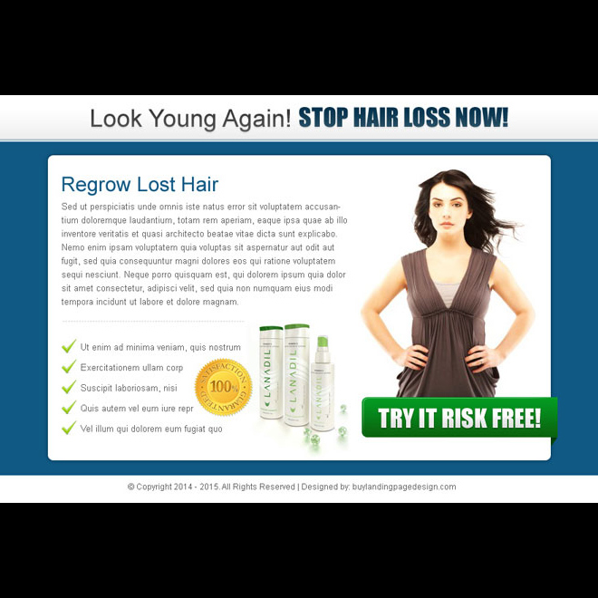 look young again stop hair loss now clean and effective ppv landing page design Hair Loss example