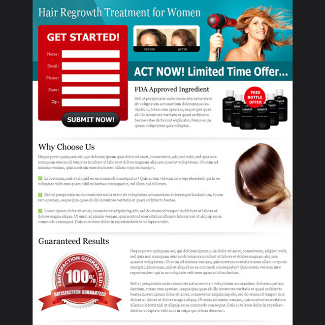 hair regrowth treatment for women optimized and converting landing page design Hair Loss example
