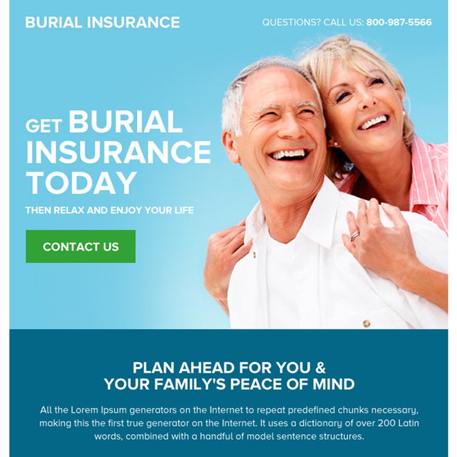 appealing burial insurance lead generating ppv landing page Burial Insurance example