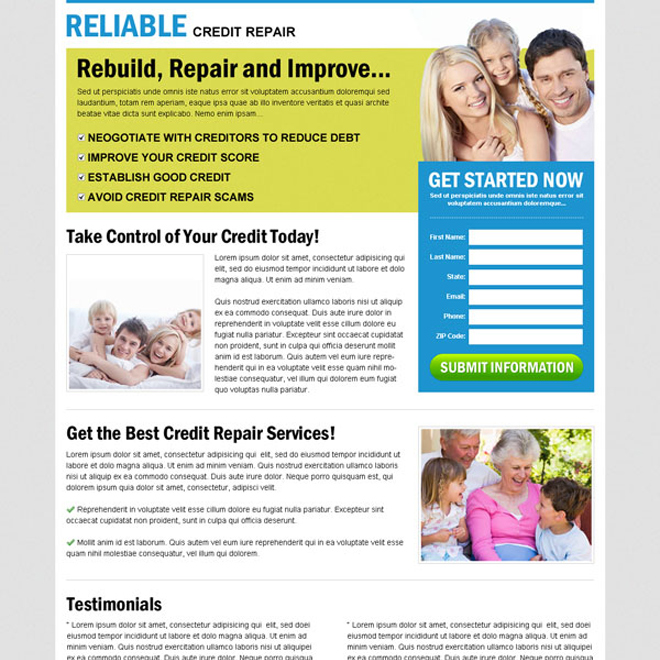 rebuild repair and improve your credit repair with our effective and converting credit repair lead capture lander design Credit Repair example