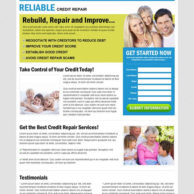 rebuild repair and improve your credit repair with our effective and converting credit repair lead capture lander design Credit Repair example