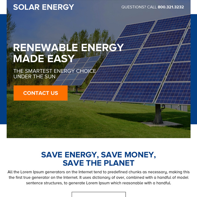 renewable solar energy call to action ppv landing page Solar Energy example