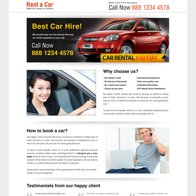 rent a car call to action lander design Car Hire and Car Rental example